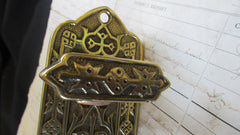Antique Ornate Brass Mechanical Door Bell Pull - Lozenge 1844