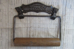 Cast Iron and Wood Antique Toilet Roll / Paper Holder - St Lukes London