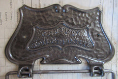 Cast Iron and Wood Antique Toilet Roll / Paper Holder - Arts & Craft 1907