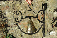 Large Cast Brass & Wrought Iron Wall Mounted Bell - Pub, School, Church...