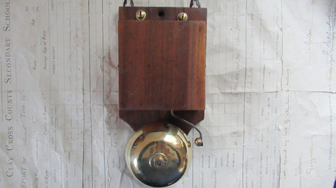 Antique Wood & Brass Electric Doorbell - 3 -6 volts
