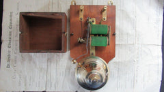 Restored Antique Wood & Brass Electric Door Bell - 6 Volts