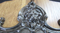 Lion, Dolphin Iron and Wood Antique Toilet Roll / Paper Holder