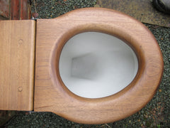 Antique High Level Wooden Toilet Seat - light and golden