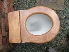 Antique High Level Ash Wood Open Toilet Seat