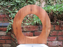 Antique High Level Wood Open Toilet Seat - Shaped Back
