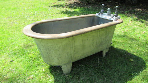 Antique Copper & Mahogany Roll Top Bath - J. Bolding taps London