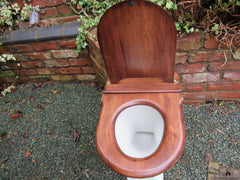 Large Antique Wooden High Level Toilet Seat with Lid - Medium Oak
