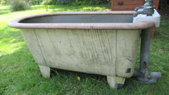 Antique Copper & Oak Bath - J. Bolding taps London