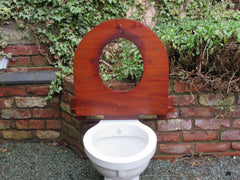 Antique Mahogany Round Wooden High Level Throne Toilet Seat