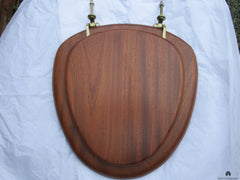 Antique High Level Mahogany & Brass Toilet Seat with Lid - Heart Brackets