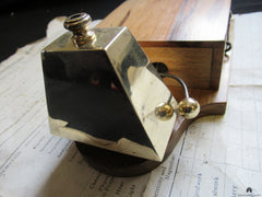 Restored Art Deco Wood & Brass Electric Rectangular Doorbell - 4-6 volts
