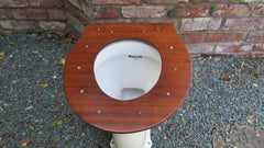 Antique High Level Mahogany Open Toilet Seat - Brass Screws