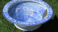 Victorian Blue and White Transfer Printed Thunderbox Toilet Bowl (1)