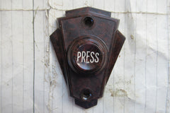 Vintage Art Deco Restored Bakelite Door Bell Push -Mottled