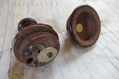 Antique Turned Wooden Electric Servants Bell or Light Push - Carved Pattern