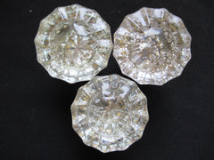 3 Pairs Antique 12 Sided Glass & Brass Door Knobs