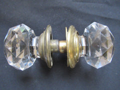 Pair Antique Cut Glass Door Knobs & Concealing Back Plates - Hart & Son Pitts London