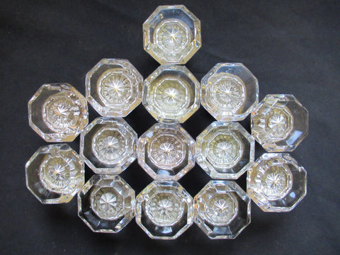 7 Pairs Antique Octagonal Glass Door Knobs Circa 1901