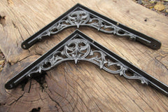 "8 1/4"" Antique Ornate High Level Cast Iron Toilet Cistern Brackets"