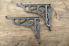 "8 1/4"" Ornate Antique High Level Cast Iron Toilet Cistern or Shelf Brackets"