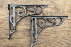 "8 1/4"" Ornate Antique High Level Cast Iron Toilet Cistern or Shelf Brackets - 1903"