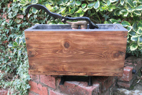 "Restored Wooden, Brass & Copper High Level Toilet Cistern - ""Plain"" Japkap"