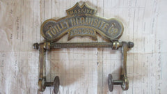 Solid Brass and Wood Antique Toilet Roll / Paper Holder 'Requisite' (Commision Restoration)