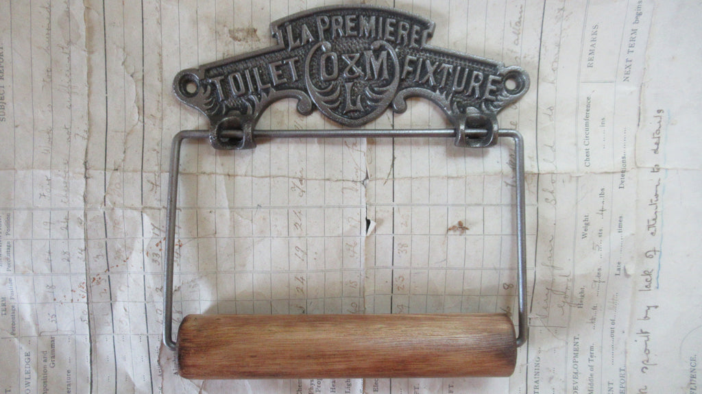 Cast Iron and Wood Antique Toilet Roll / Paper Holder - L.A Premier