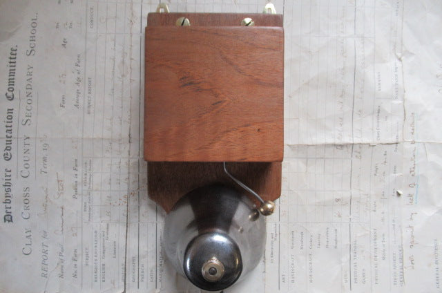 Restored Art Deco Wood & Steel Electric Conical Doorbell - 4-6 volts