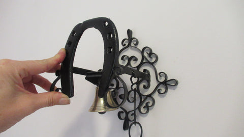 Vintage Wrought Iron Spanish Revival Gate Bell Chime - Horseshoe