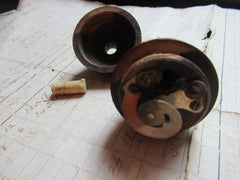 Antique Turned Wooden Electric Servants Bell or Light Push - Oval detail