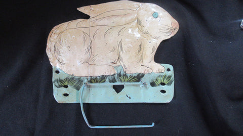 Vintage Kitsch Tin Rabbit Toilet Roll / Paper Holder