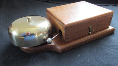 Very Large Restored Brass and Wood Electric Door Bell 8 Volts - TANGENT