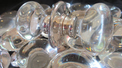 Pair Vintage Globe Glass & Chrome Door Knobs - 19 pairs available