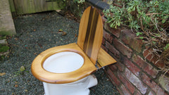 Antique High Level Beech Like Wooden Toilet Seat + Lid