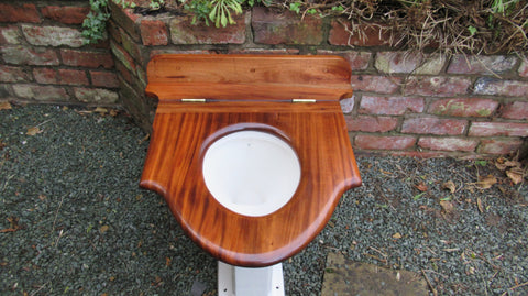 Antique Mahogany High Level Throne Toilet Seat - Ornate Scroll