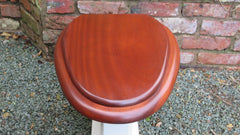 Antique High Level Mahogany & Brass Toilet Seat with Lid - Chrome Brackets
