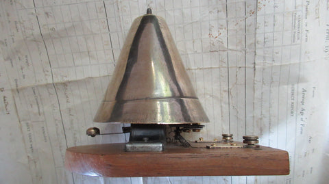 Single Strike Restored 1900s Victorian Wooden & Brass Bell - Self Contained