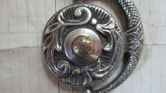 Highly Ornate Antique Brass Electric Doorbell Push - Mythical Creature Griffin / Dragon