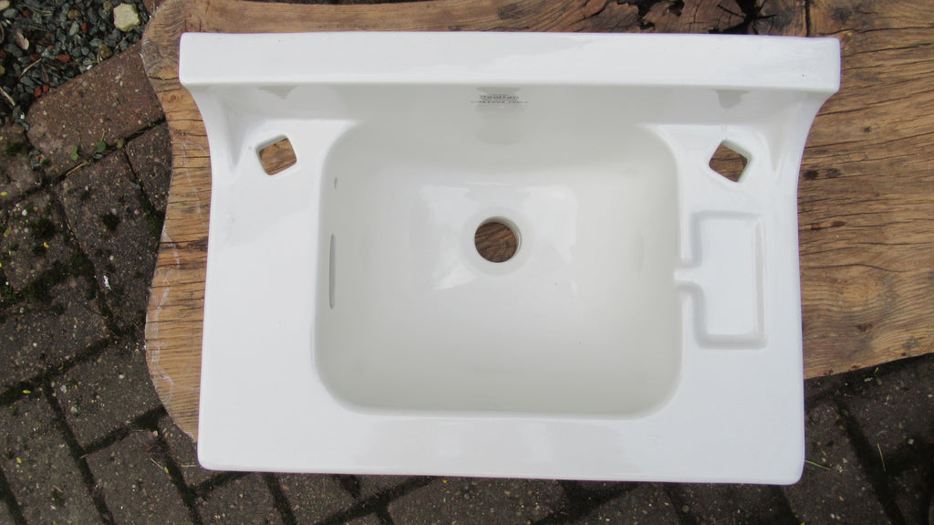 Art Deco Doulton Porcelain Wall Hung Bathroom Sink + Taps, Waste & Chain