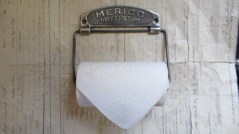 Art Deco Chromed and Wood Toilet Roll / Paper Holder - Merico London