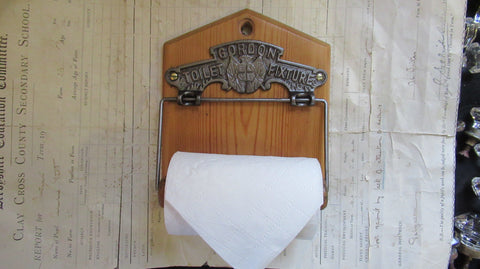 Cast Iron and Wood Antique Toilet Roll / Paper Holder - GORDON