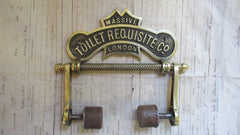 Solid Brass and Wood Antique Toilet Roll / Paper Holder 'Requisite' (Available for Commision Restoration)