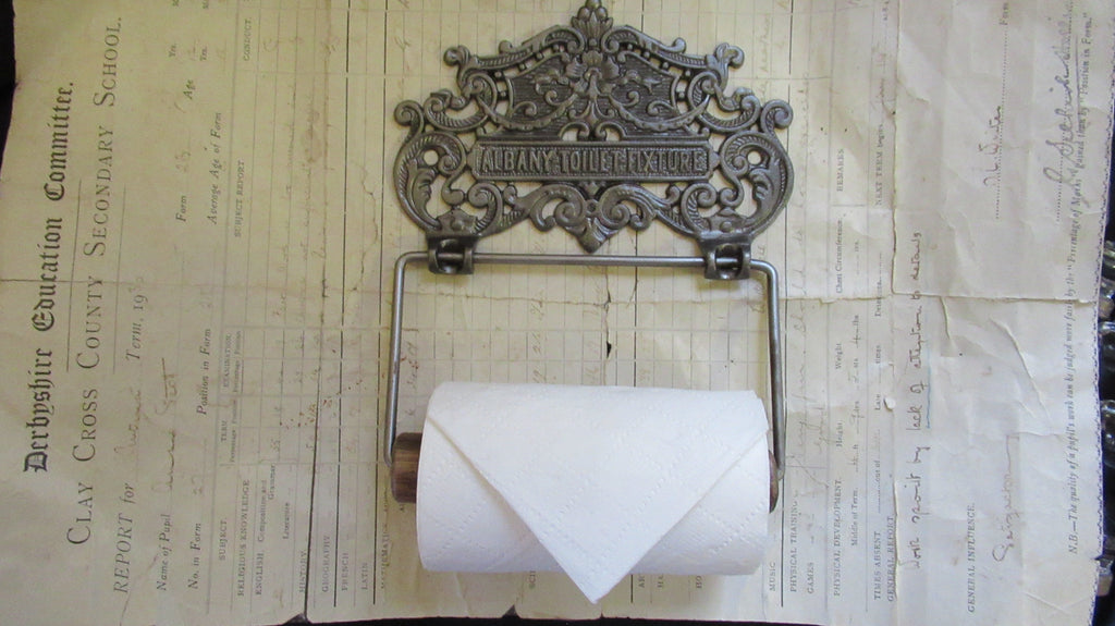 Fancy Cast Iron and Wood Antique Toilet Roll / Paper Holder - Albany
