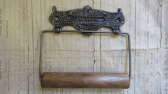Cast Iron and Wood Antique Toilet Roll / Paper Holder - The Cecil 1908