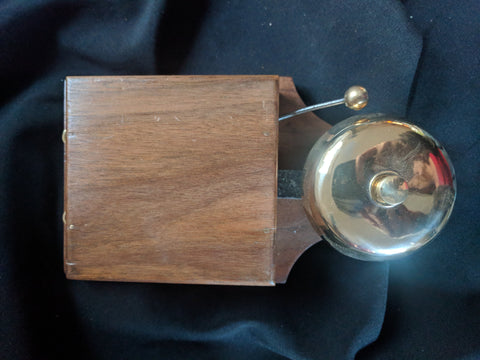 Large Restored Art Deco Wood & Brass Electric Doorbell - 3 - 6 volts