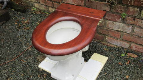Antique High Level Mahogany Open Toilet Seat