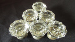 6 x Antique Clear Cut Glass & Nickel Drawer Knobs