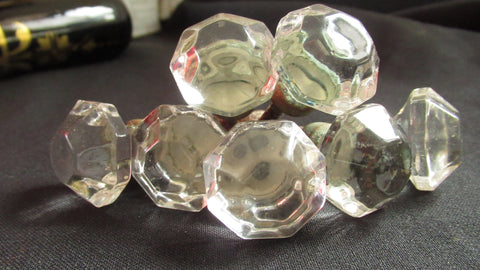 7 x Antique Clear Cut Glass & Nickel Drawer Knobs